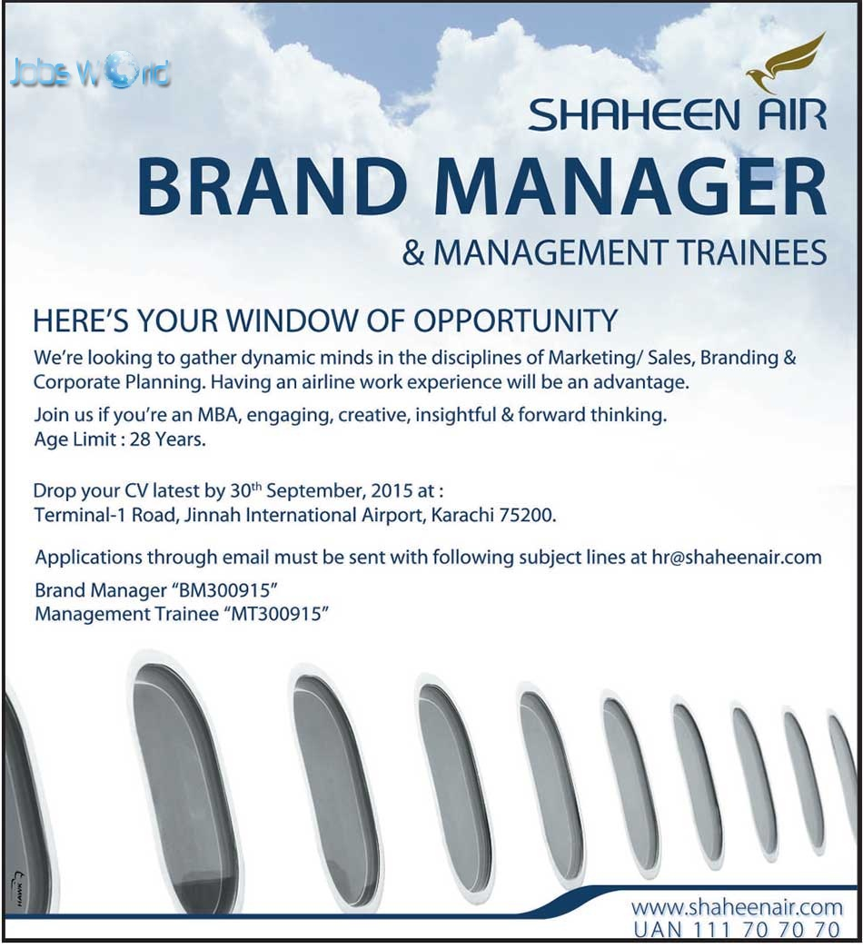 shaheen air jobs opportunity for brand manager management shaheen air jobs opportunity for brand manager management trainees jobsworld