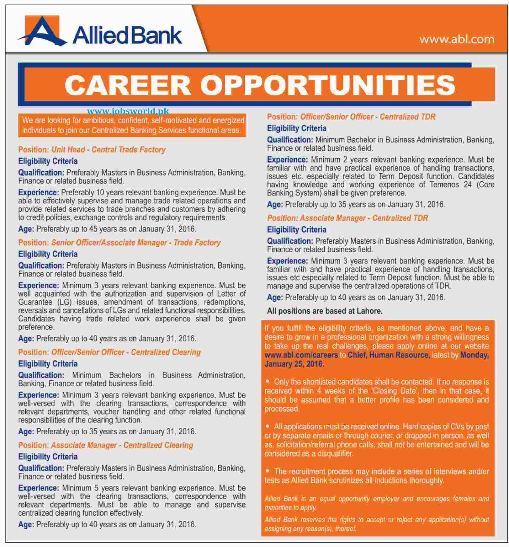allied bank limited jobs 2016 abl latest apply online jobsworld