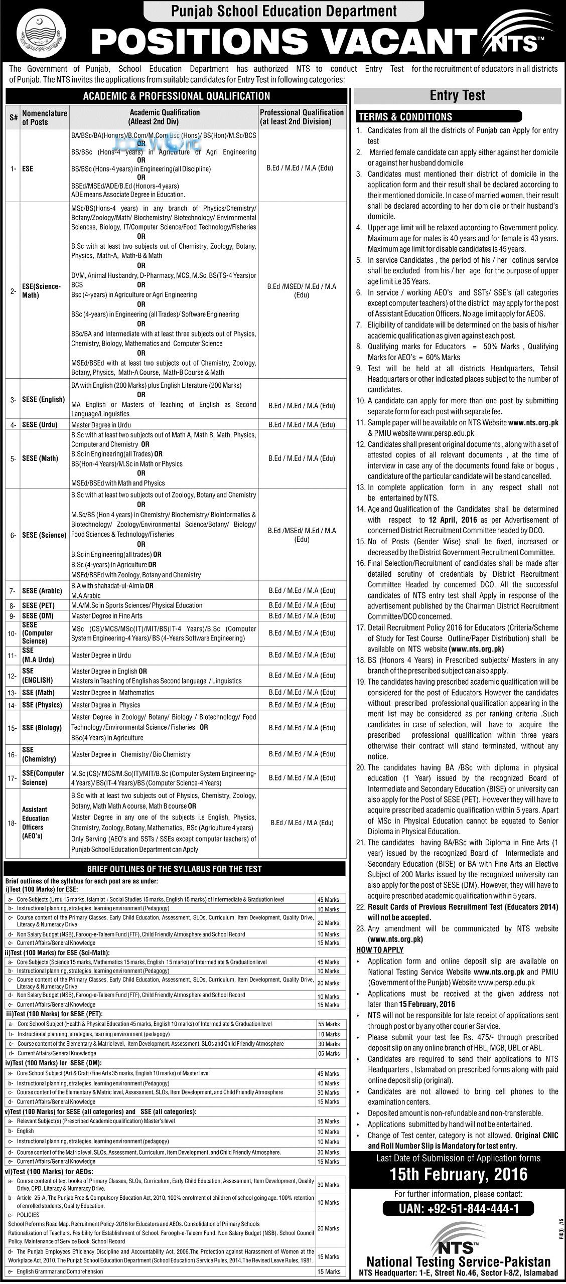 punjab educators teachers jobs eligibility criteria jobsworld