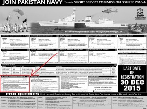 Pakistan Navy Test Schedule 2016 SSC Course