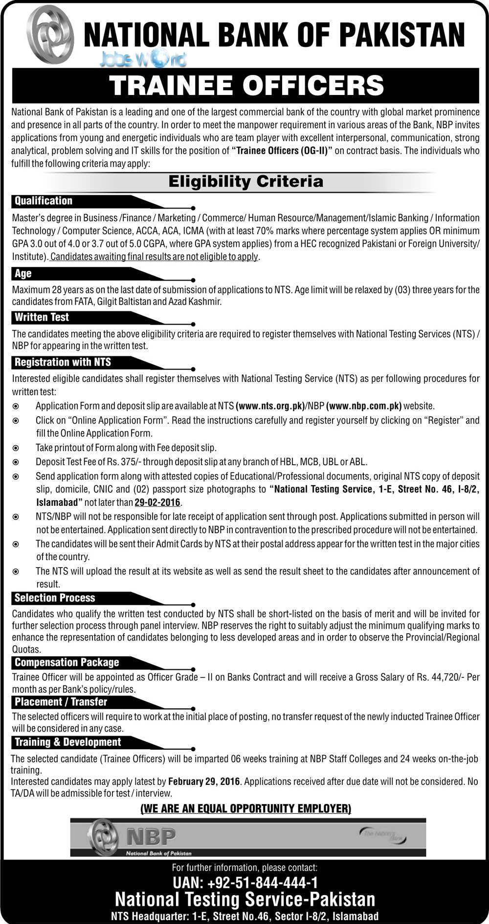 national bank of jobs trainee officers og ii national bank of jobs 2016 trainee officers og ii jobsworld