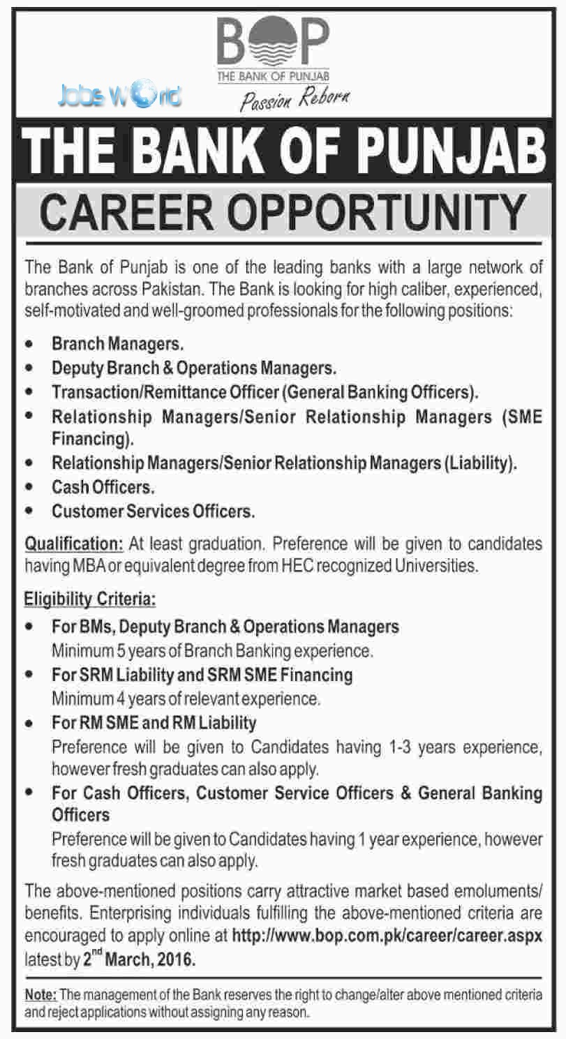 the bank of punjab jobs 2016 branch manager other jobsworld
