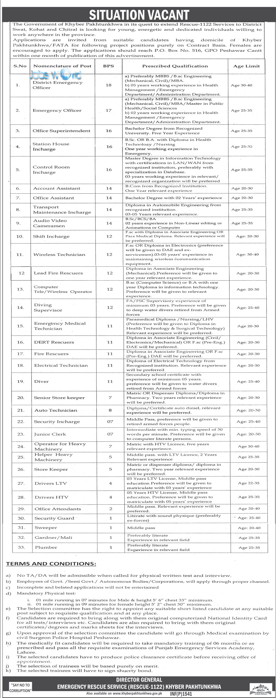 kpk rescue 1122 jobs 2016 application form advertisement jobsworld