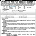 Pakistan Ordnance Factories Training Scheme 2016