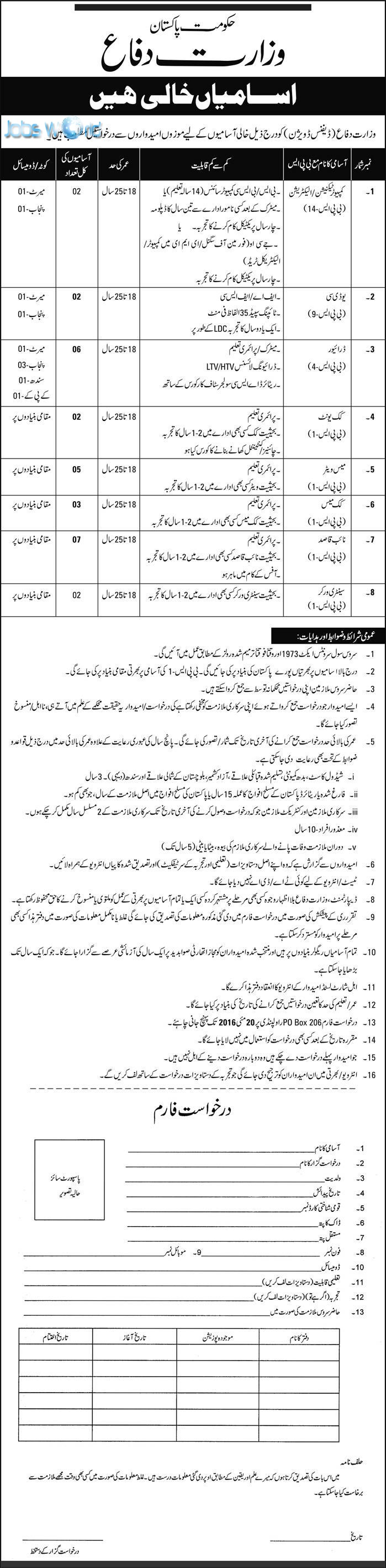 jobs in ministry of defence islamabad 2016 application form jobsworld jobs in ministry of defence islamabad 2016 application form