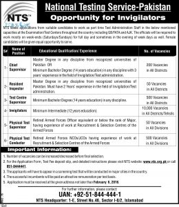NTS Invigilators Test Result 2016