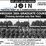 Join Pakistan Army 36th Graduate Course 2016 Online Registration