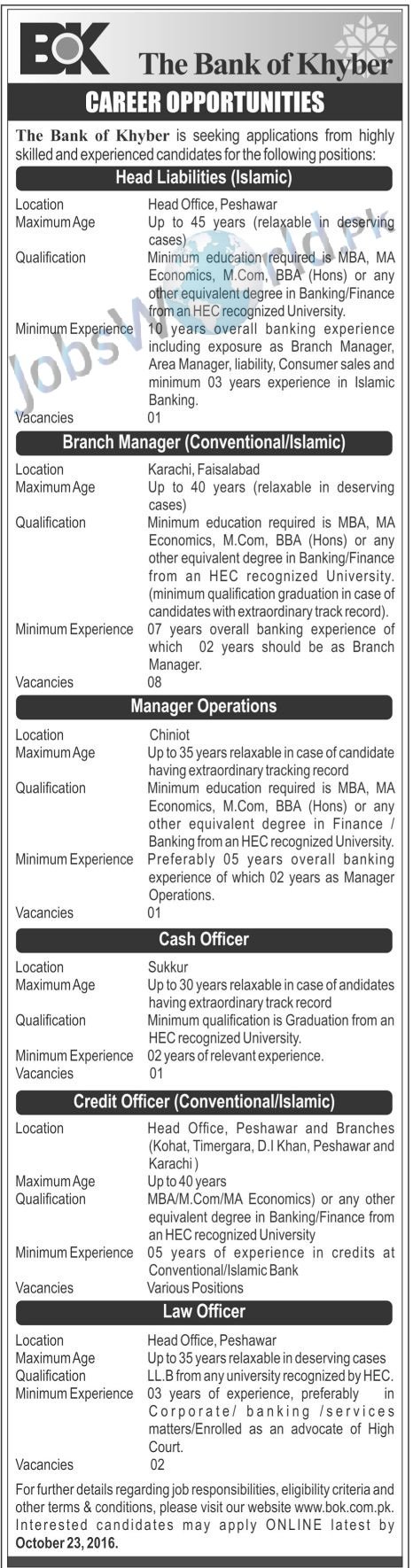 the bank of khyber jobs opportunity multiple posts the bank of khyber jobs opportunity 2016 multiple posts jobsworld