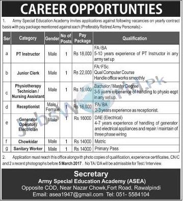 Army Special Education Academy Jobs 2017 ASEA Recruitment -JobsWorld