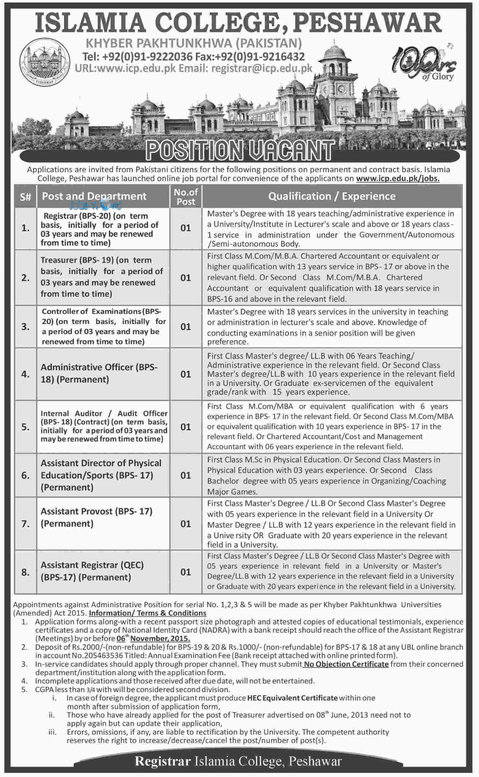 Islamia College Peshawar KPK Jobs Opportunity Latest Posts JobsWorld