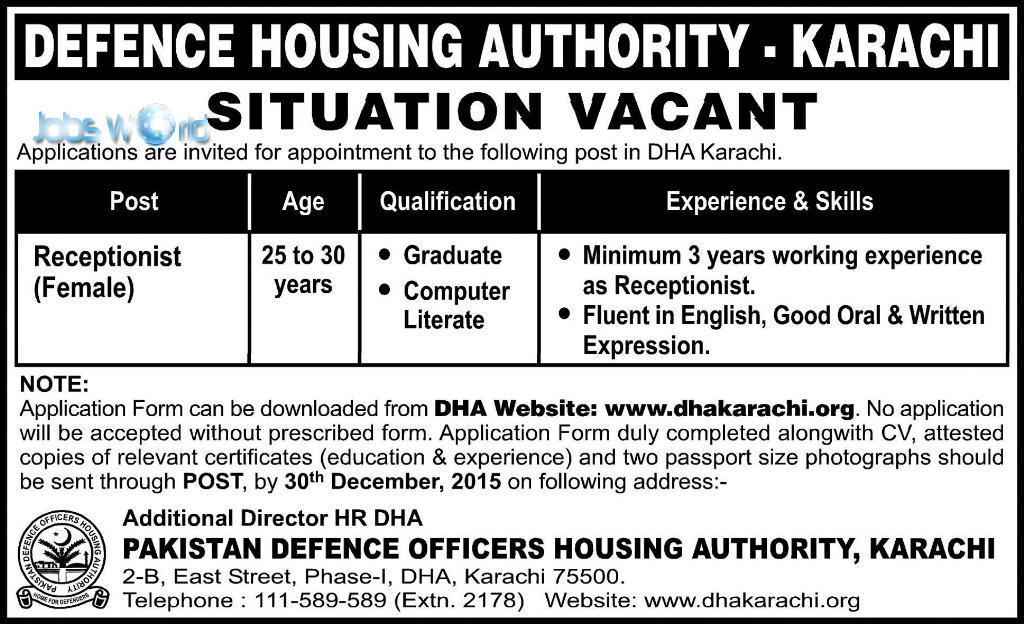 Dha Karachi Jobs 2016 Latest Advertisement Jobsworld