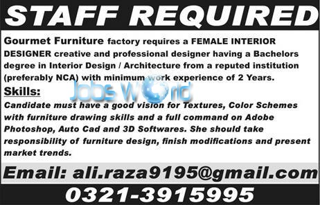 Interior Designer Jobs 2016 In Pakistan Apply Online JobsWorld