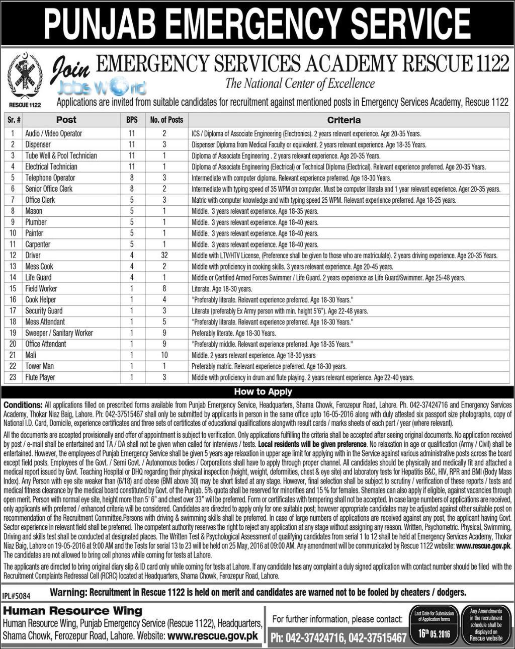 Punjab-Emergency-Service-Rescue-1122-Jobs-2016 Job Application Form Wapda on blank generic, big lots, free generic, part time, sonic printable,