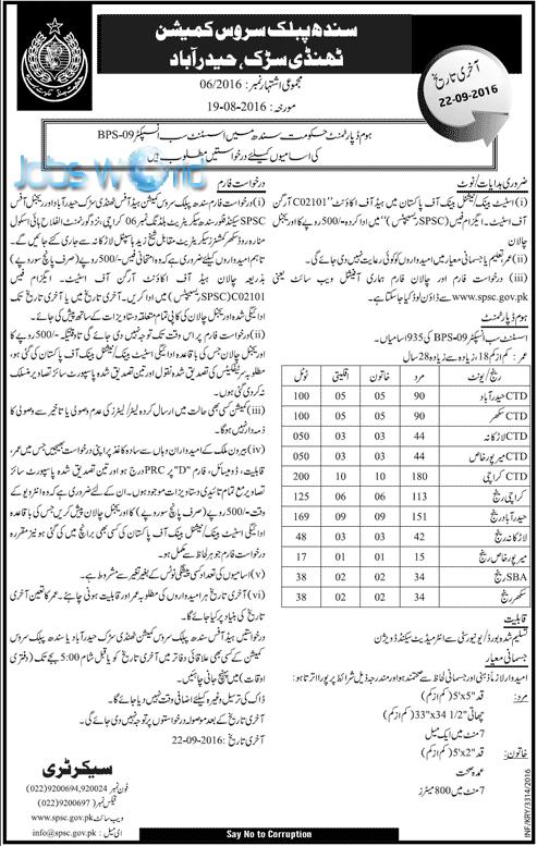SPSC Assistant Sub Inspector Jobs 2016 ASI Sindh Public