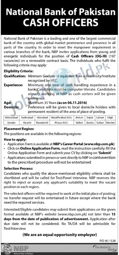 National bank pakistan cash officer jobs 2016 og iii posts - National bank of pakistan head office ...