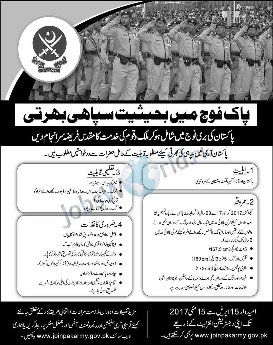 Join Pak Army As Soldier In 2017 Online Registration Latest -JobsWorld